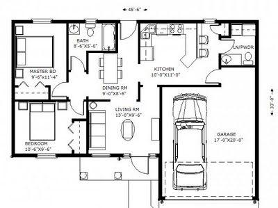 plano de <em>Casa de dos dormitorios</em>