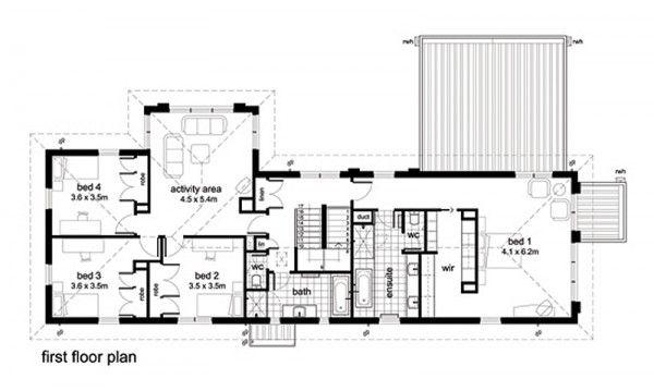 Casa moderna de 4 habitaciones for Planos de casas de una planta 4 dormitorios