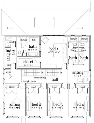 Plano de casa moderna de 4 habitaciones for Planos de casas de una planta 4 dormitorios