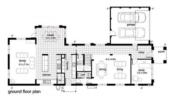 Casa moderna de 4 habitaciones for Diseno casa planta baja