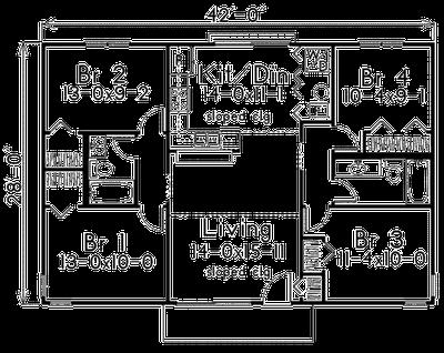 Plano de casa de 4 habitaciones