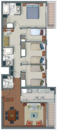 plano de departamento de 4 habitaciones