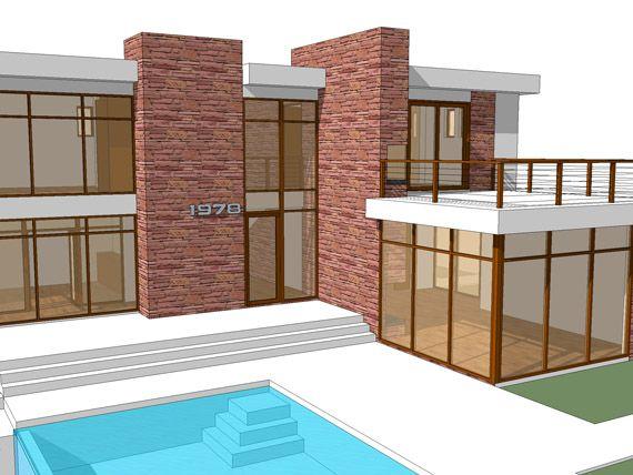 Casa retro moderna - Paredes de vidrio exterior ...