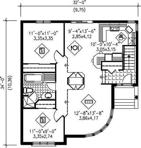 Plano nivel principal, casa moderna con garaje para 1 auto