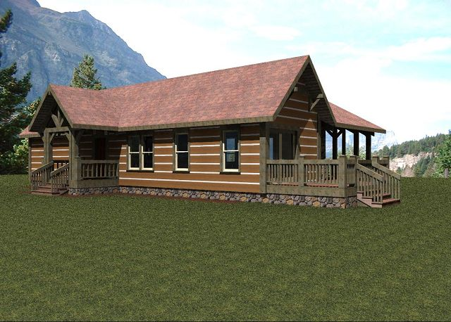 Casa de campo con p rtico trasero for Modelos de casas de campo de una planta