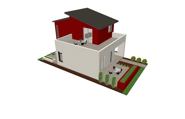 Pequeña casa moderna - Vista superior