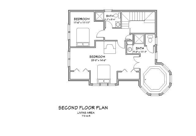 Plano segundo nivel Casa de estilo tradicional con comedor hexagonal