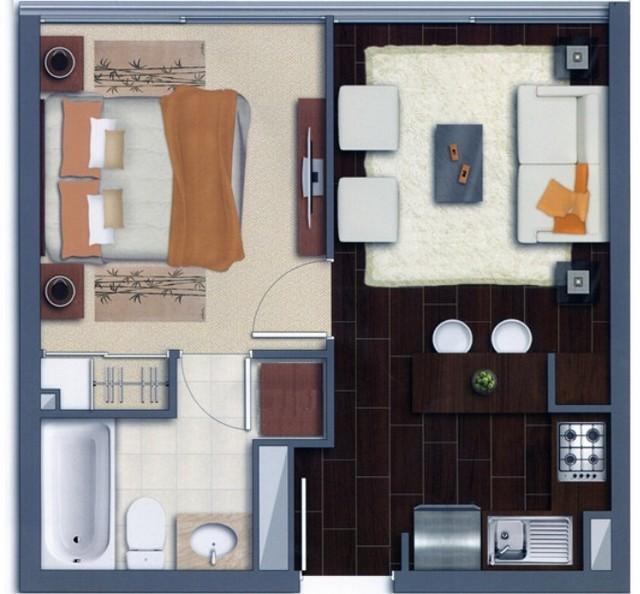 Plano de apartamento amueblado y decorado decoraci n de - Casas amuebladas modernas ...