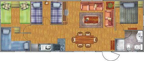 plano de casa alargada con 4 dormitorios