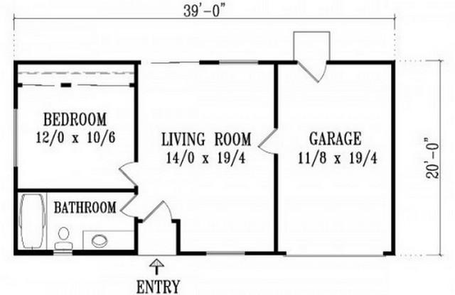 Plano de casa con 1 dormitorio y garaje 1