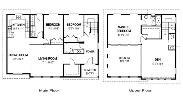 Plano de casa con dos niveles y 3 dormitorios