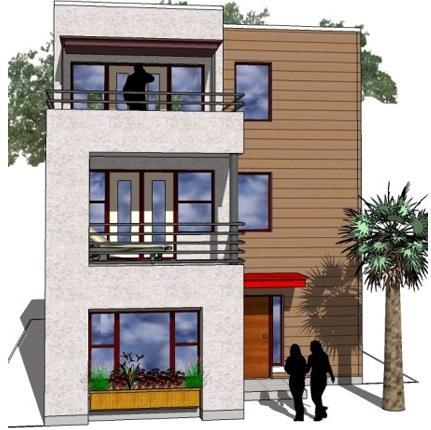 Plano de casa de 3 niveles for Fachadas de casas de tres pisos