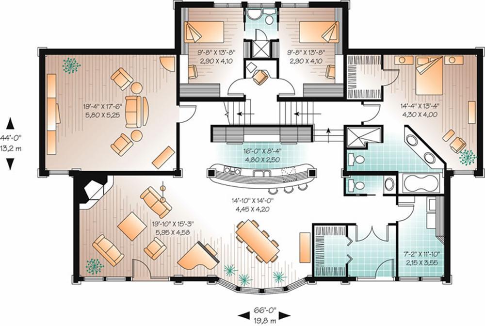 Plano de casa de playa grande for Plano de una cocina profesional