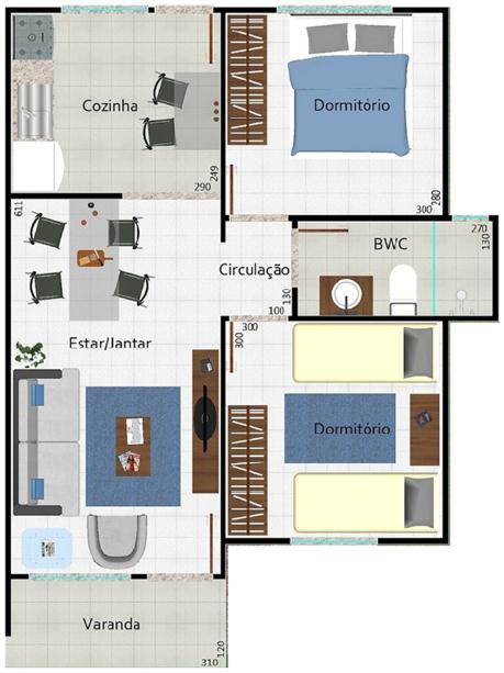 Baño Familiar Medidas:Planos De Casas De 2 Dormitorios De Un Piso