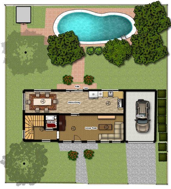 Plano de casa rural pequeña con piscina