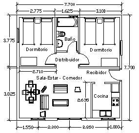 Planos de casas con medidas for Medidas de muebles para planos arquitectonicos
