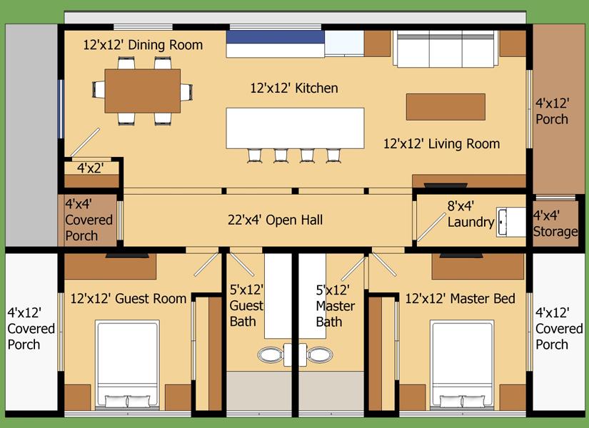 Planos de casas con medidas for Habitaciones 3d gratis