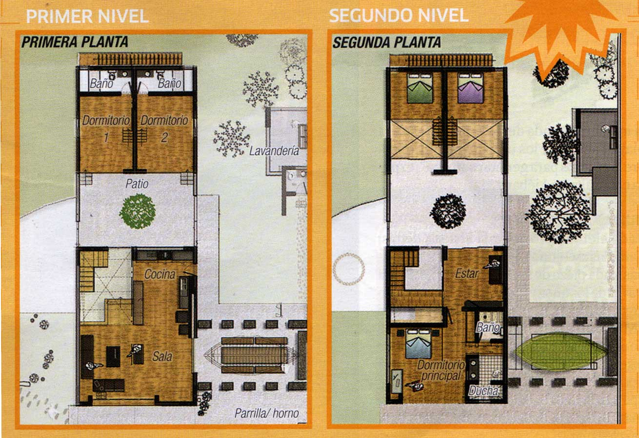 Plano moderno de casa de dos niveles for Planos de casas con patio interior