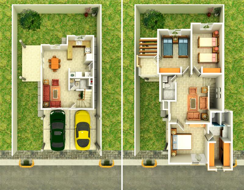 Planos de dos plantas en autocad for Planos de casas de 2 plantas