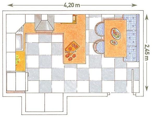 Planos modernos de cocina comedor for Plano de una cocina profesional