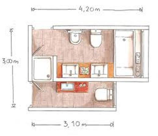 Planos modernos de ba os con duchas compartidas for Piezas de la regadera