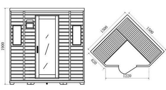Planos modernos de ba os con saunas for Planos de banos modernos