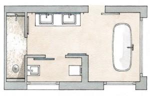 Planos modernos de baños dobles