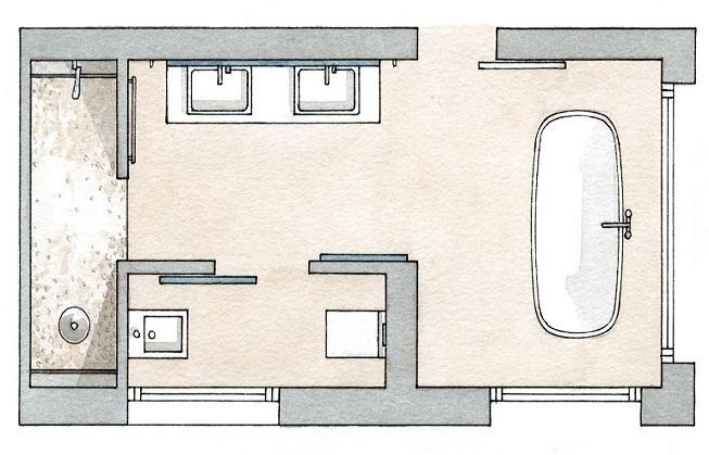Planos modernos de ba os dobles for Bano con jacuzzi y ducha planos