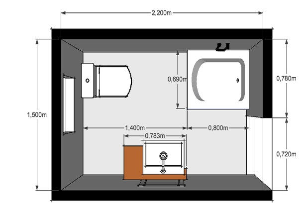 Planos modernos de ba os medianos - Banos cuadrados con ducha ...