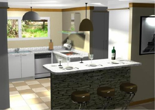 Planos modernos de cocinas con desayunador for Cocinas modernas con isla central y desayunador