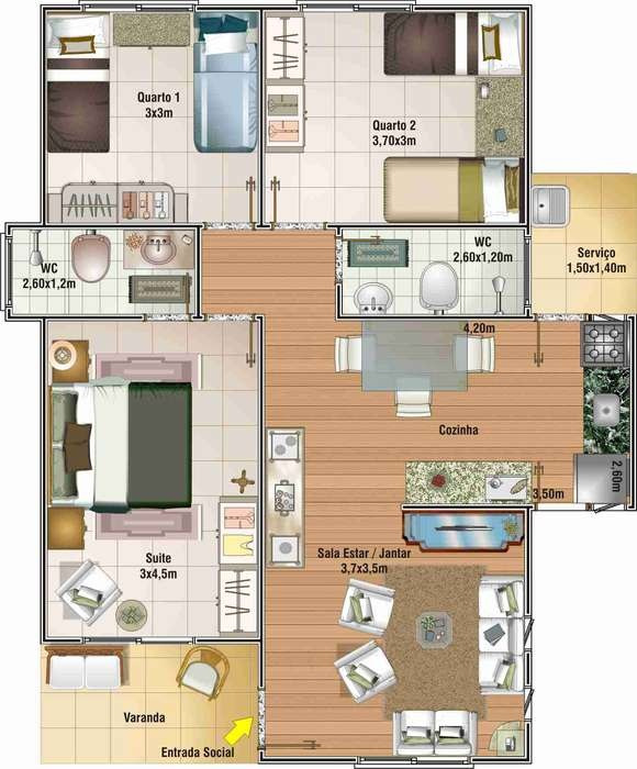 Planos de casas de un piso bien bonitas for Plano casa un piso