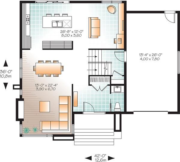Planos de casas modernas de 2 pisos for Plano cocina con isla