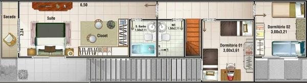 Planos de casas de 3 dormitorios y dos niveles for Fachadas de casas de 5 metros de ancho