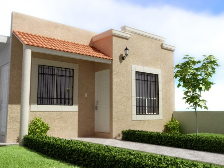 Fachadas para casas de una planta, variados