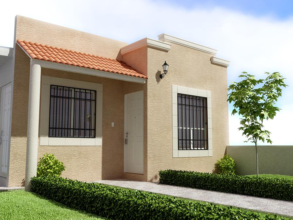 Fachadas para casas de una planta for Colores para puertas exteriores