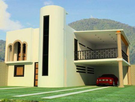 Planos arquitectónicos de casas de dos plantas.