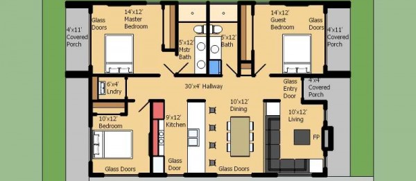 Planos de casas de 3 recamaras for Casa moderna 50 metros cuadrados