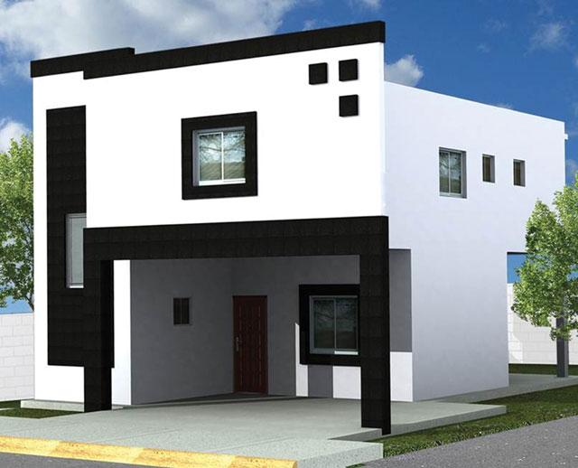 Planos de fachadas de casas de dos pisos modernas for Viviendas minimalistas