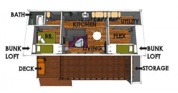 plano de <u>casa de madera</u>