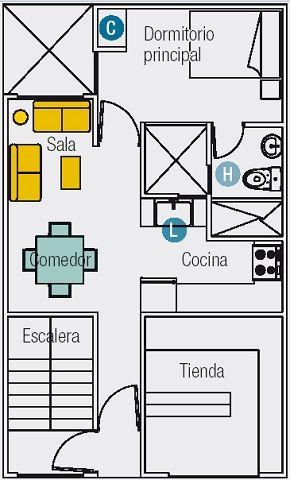 Planos mini departamentos for Distribucion departamentos modernos