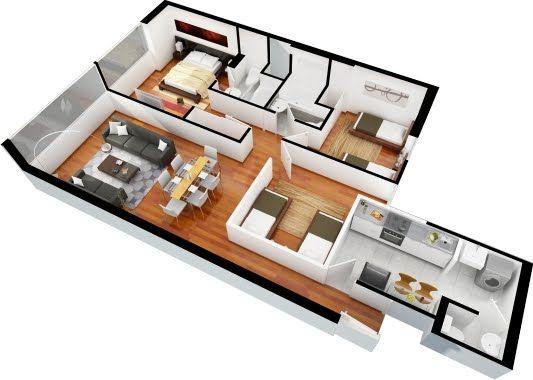 Planos de departamentos de 3 dormitorios y 2 ba os for Casa moderna 3 habitaciones