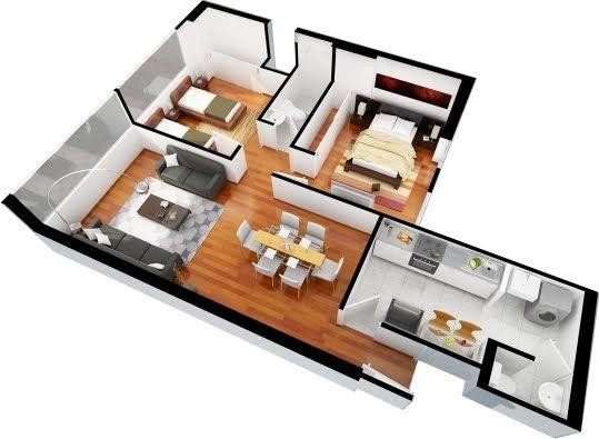Planos de departamentos de 3 dormitorios y 2 ba os for Plano casa minimalista 3 dormitorios