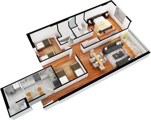 Planos de departamentos de 3 dormitorios y 2 ba os for Distribucion departamentos modernos