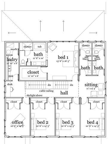 Plano de casa moderna de 4 habitaciones for Planos casas modernas 1 planta