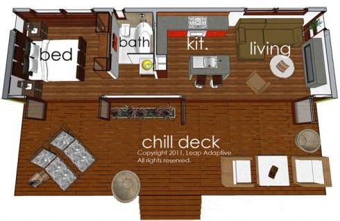 Plano casa moderna de vacaciones