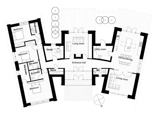 5 planos de casas modernas for Casa moderna parquet
