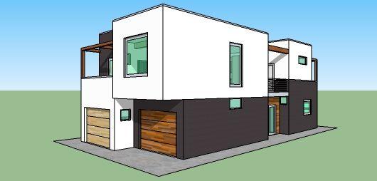 Plano De Casa Moderna De 2 Pisos Y 3 Habitaciones