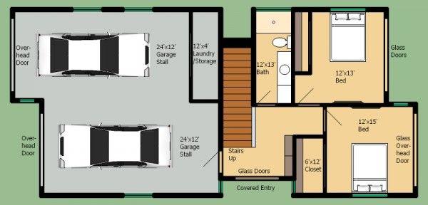 Plano de casa moderna de 2 pisos y 3 habitaciones for Diseno casa planta baja