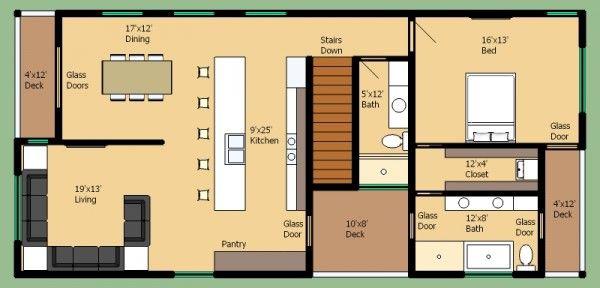 Plano de casa moderna de 2 pisos y 3 habitaciones for Plano casa moderna 4 habitaciones