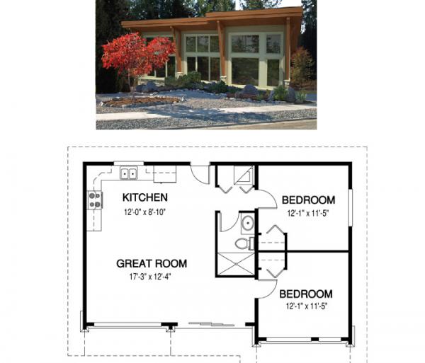 Plano de casa pequeña y moderna